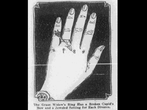 "Illustration: a woman's hand with a ring, signifying she is a ""grass widow"""