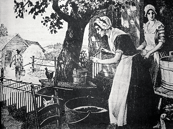 Illustration: woman making candles. Credit: Collection of the Massachusetts Historical Society.