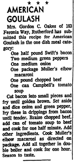 A recipe for American Chop Suey, Jersey Journal newspaper article 16 July 1959