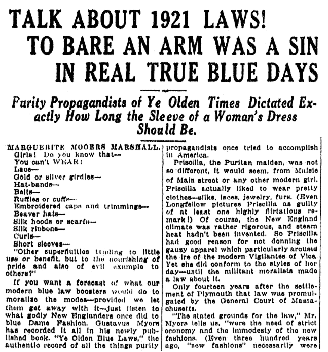 An article about fashion laws, Kalamazoo Gazette newspaper article 5 June 1921