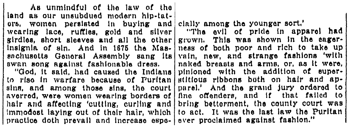 An article about the last Puritan fashion law, Kalamazoo Gazette newspaper article 5 June 1921