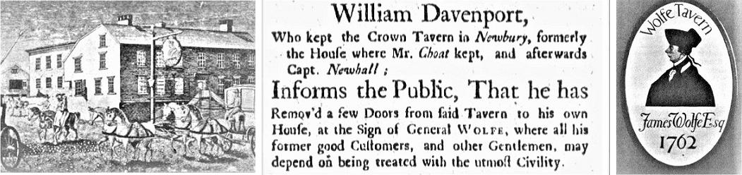 Montage: advertisement for Wolfe Tavern from the Boston Gazette (Boston, Massachusetts), 2 August 1762, page 1; sign and tavern photo from the Boston Herald (Boston, Massachusetts), 12 January 1908, Boston, page 36.