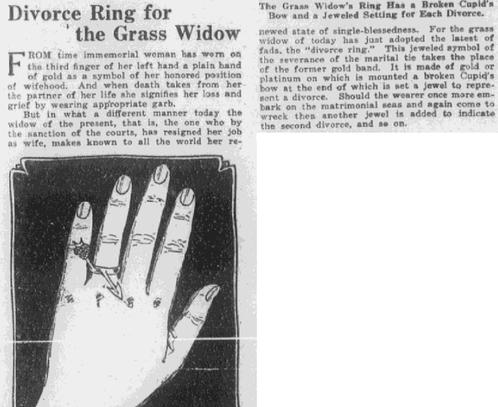 An article about grass widows, Montgomery Advertiser newspaper article 2 April 1922