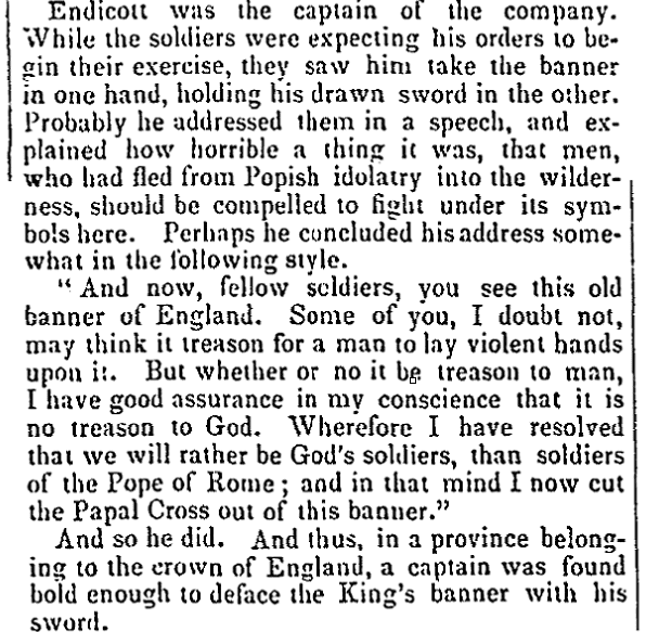 "An article about John Endicott and the ""Red Cross"" incident, National Aegis newspaper article 6 January 1841"