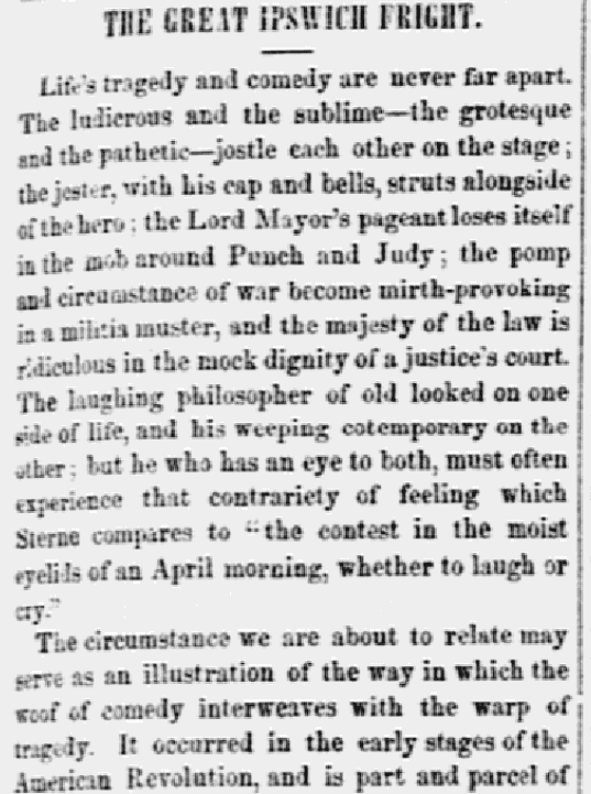 """An article about the """"Ipswich Fright,"""" National Era newspaper article 9 August 1849"""