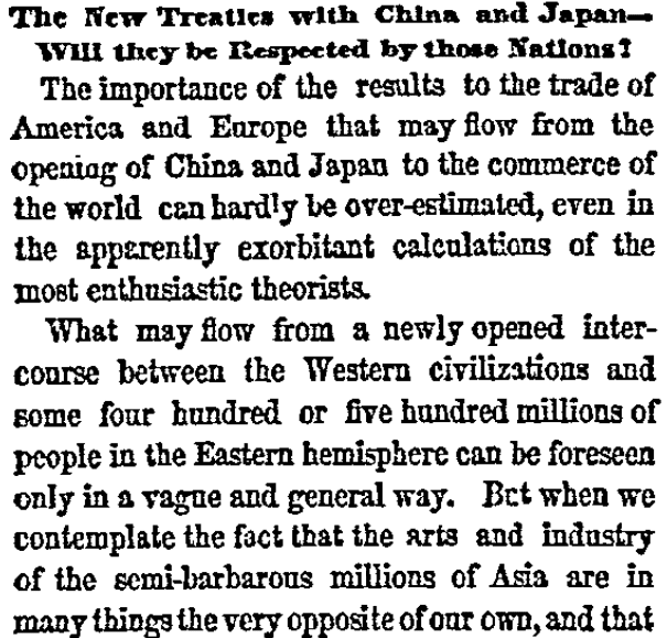 An article about the Treaty of Amity and Commerce between the U.S. and Japan, New York Herald newspaper article 19 November 1858