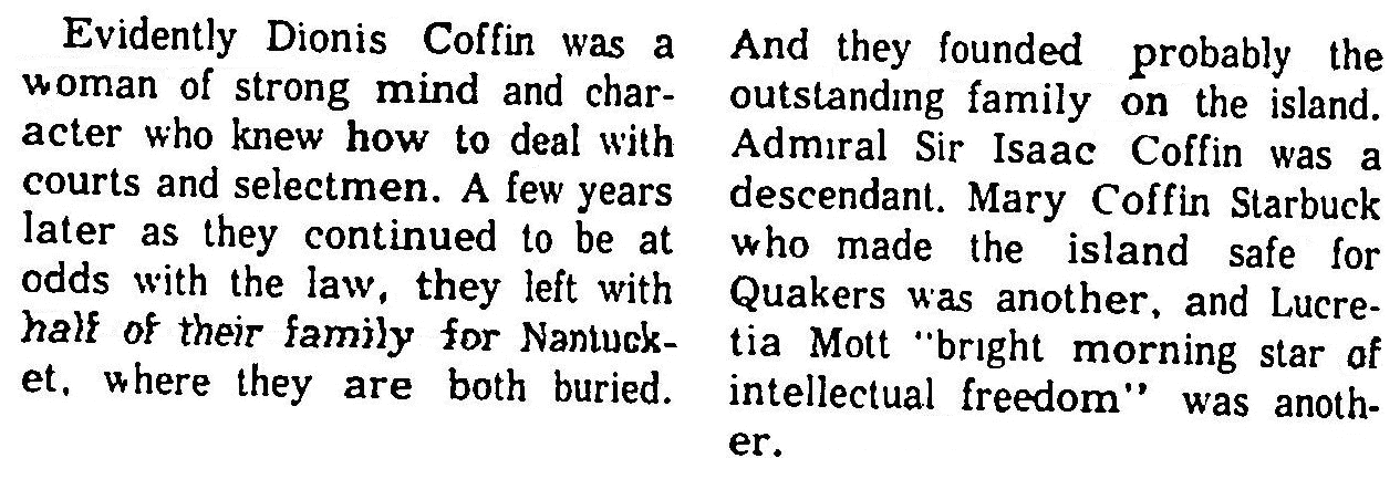 An article about Dionis Coffin, Newburyport Daily News newspaper article 6 October 1962