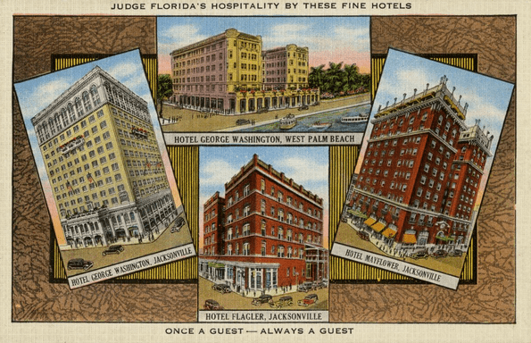 Photo: postcard showing four Kloeppel hotels in Florida, 20th century