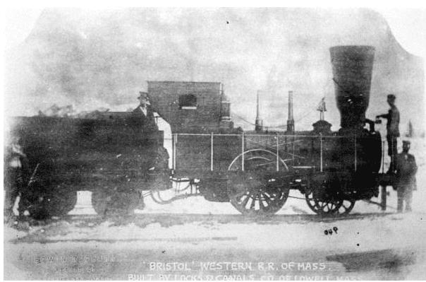 "Photo: ""Bristol"" locomotive of the Western Railroad Corporation of Massachusetts, c. 1870"