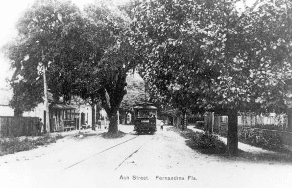 Photo: trolley car on Ash Street, Fernandina, Florida, c. 1910