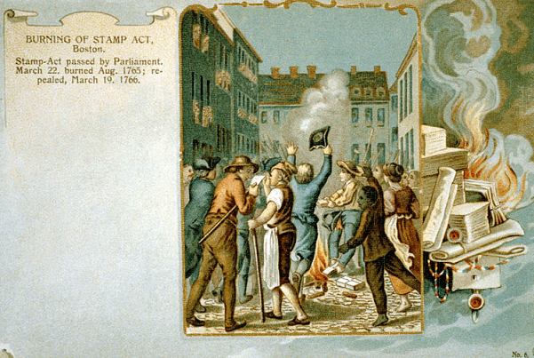 "Photo: ""Burning of Stamp Act, Boston"" from a postcard, 1903. Credit: Library of Congress, Prints and Photographs Division."