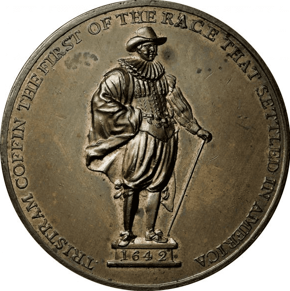 Photo: 1827 medal depicting Tristram Coffin (1605-1681), pioneer Nantucket settler
