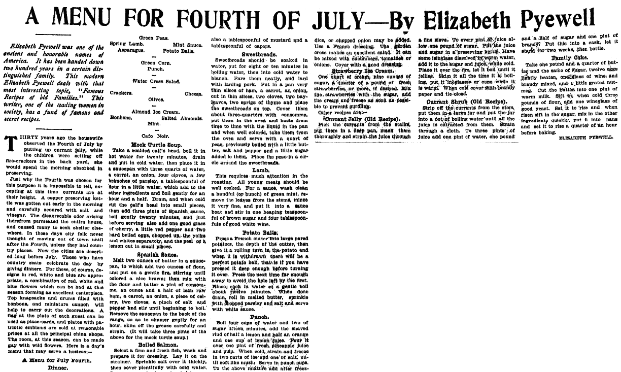 Recipes for the Fourth of July, Plain Dealer newspaper article 2 July 1905