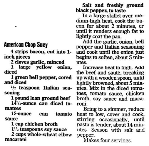 A recipe for American Chop Suey, Register Star newspaper article 14 March 2007