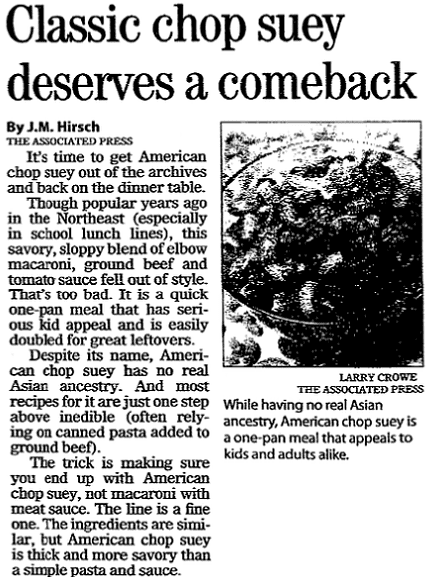 An article about American Chop Suey, Register Star newspaper article 14 March 2007