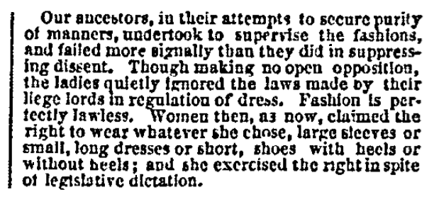 An article about fashion laws, San Francisco Bulletin newspaper article 10 June 1871