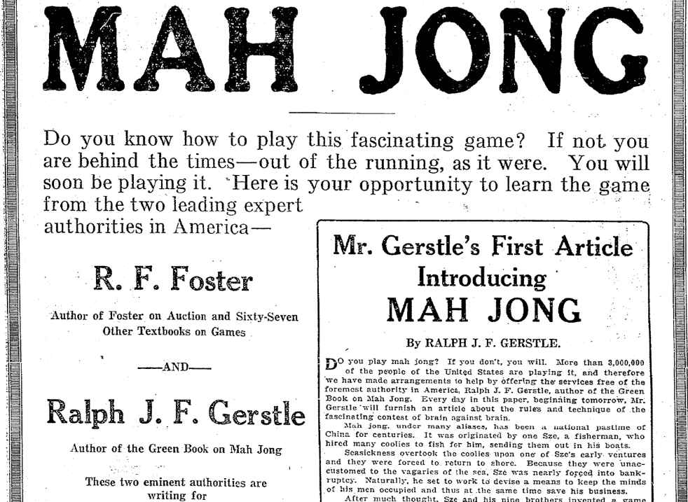 An article about Mah Jong, Seattle Daily Times newspaper article 2 March 1924