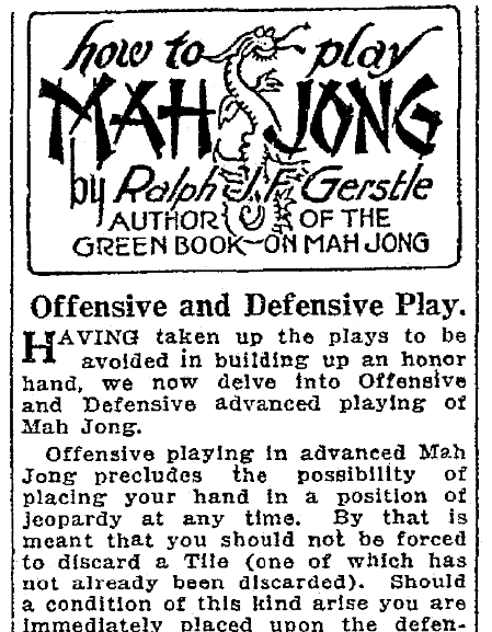 An article about Mah Jong, Seattle Daily Times newspaper article 24 April 1924