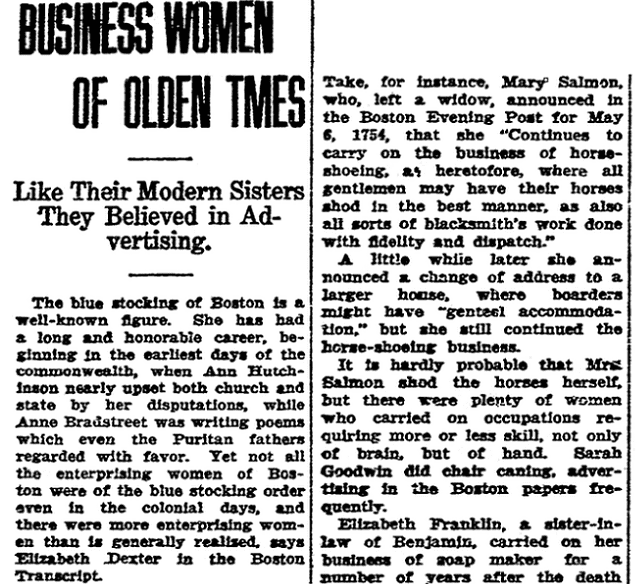 An article about women entrepreneurs in colonial America, State Times Advocate newspaper article 12 September 1924