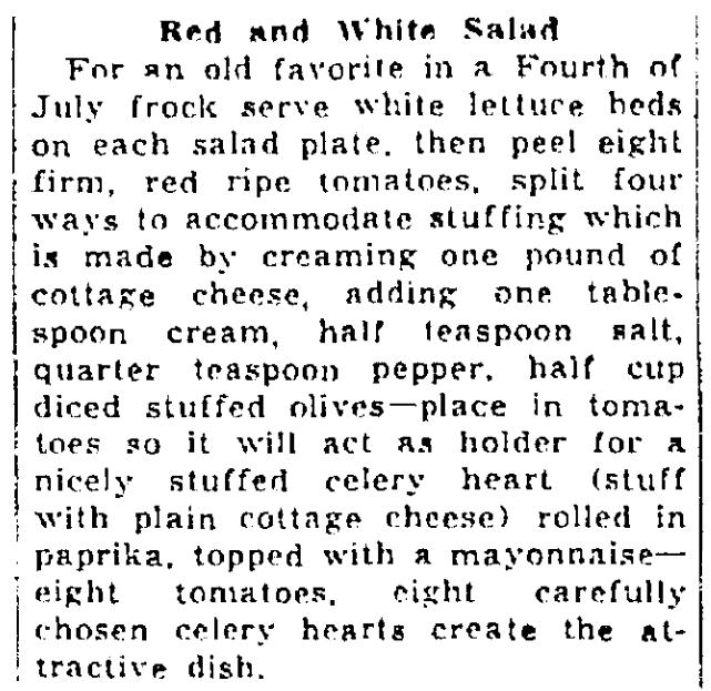 A salad recipe, Times-Picayune newspaper article 26 June 1937