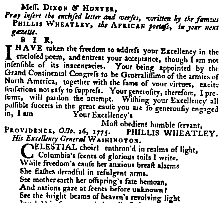 """An article about """"Columbia,"""" Virginia Gazette newspaper article 30 March 1776"""