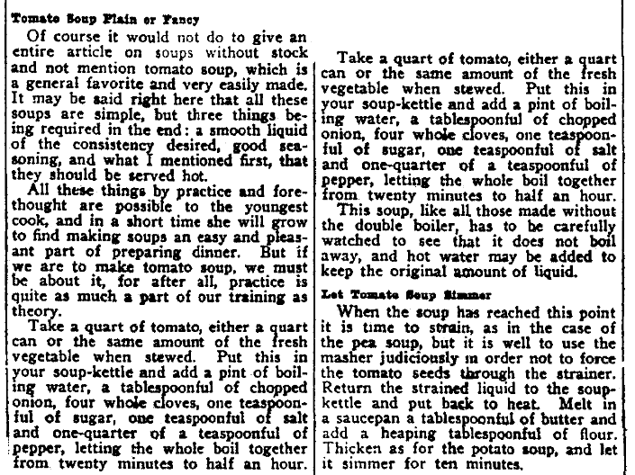 A recipe for tomato soup, Augusta Chronicle newspaper article 31 July 1909