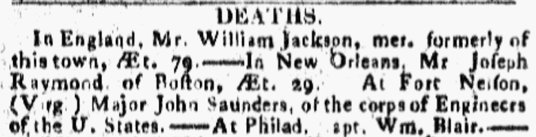 An article about William Jackson, Boston Commercial Gazette newspaper article 29 March 1810