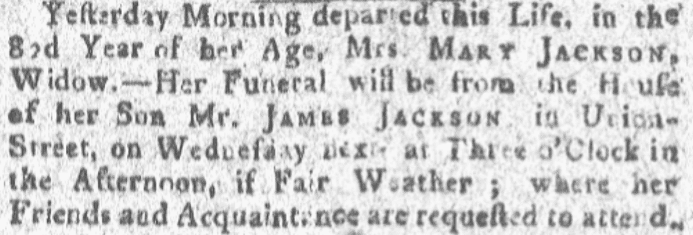 An article about Mary Jackson, Boston Gazette newspaper article 13 November 1780