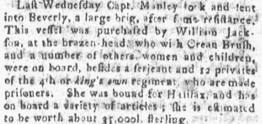 An article about William Jackson, Boston Gazette, or, Country Journal newspaper article 8 April 1776