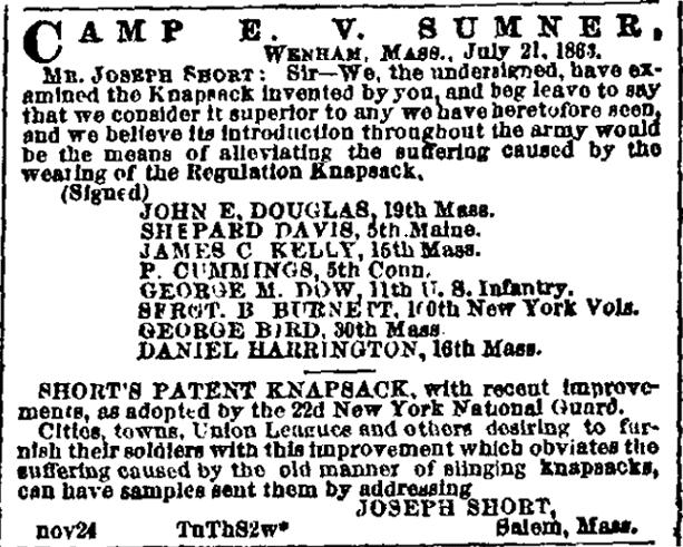 An ad for Short's Patent Knapsack, Boston Morning Journal newspaper advertisement 24 November 1863