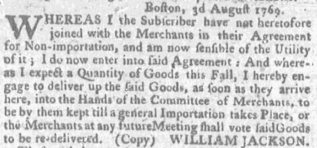 An article about William Jackson, Boston News-Letter newspaper article 25 January 1770