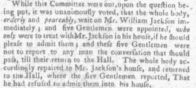 An article about William Jackson refusing a meeting, Boston News-Letter newspaper article 25 January 177