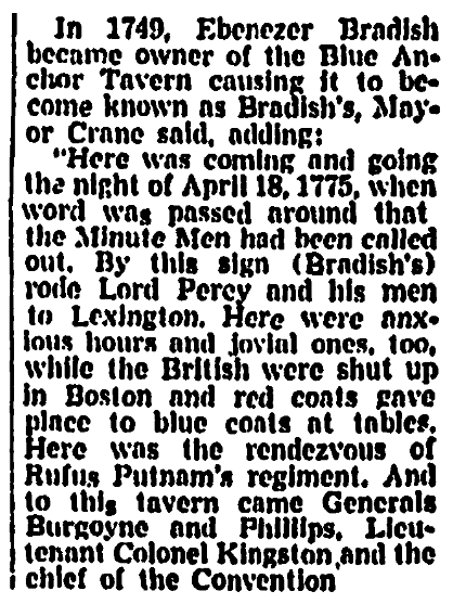 An article about Ebenezer Bradish, Boston Record American newspaper article 29 April 1963