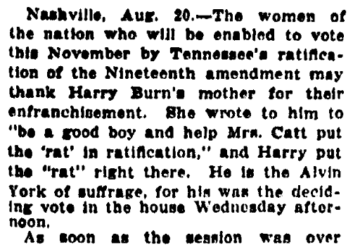 An article about Harry Burn, his mother, and the 19th Amendment, Chattanooga News newspaper article 20 August 1920