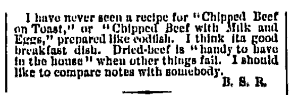 An article about chipped beef on toast, Chicago Daily Tribune newspaper article 30 September 1876