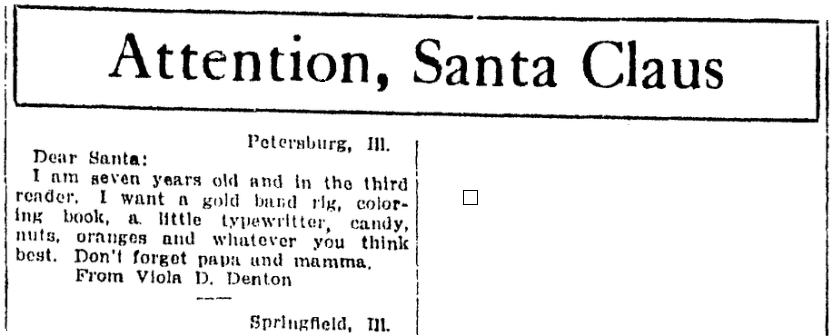 A letter to Santa Claus, Daily Illinois State Journal newspaper article 24 December 1915
