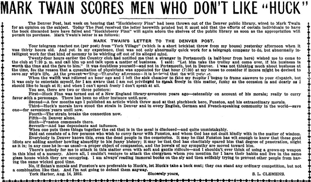 An article about Mark Twain and Huckleberry Finn, Denver Post newspaper article 18 August 1902