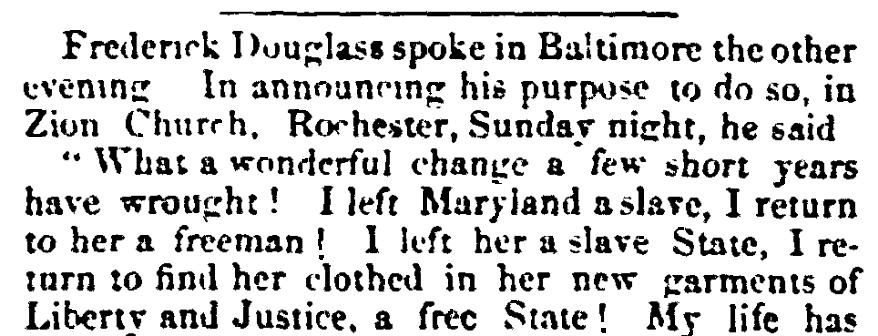 An article about Frederick Douglass, Evening Bulletin newspaper article 23 November 1864