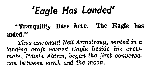 An article about Apollo 11, Evening Star newspaper article 21 July 1969