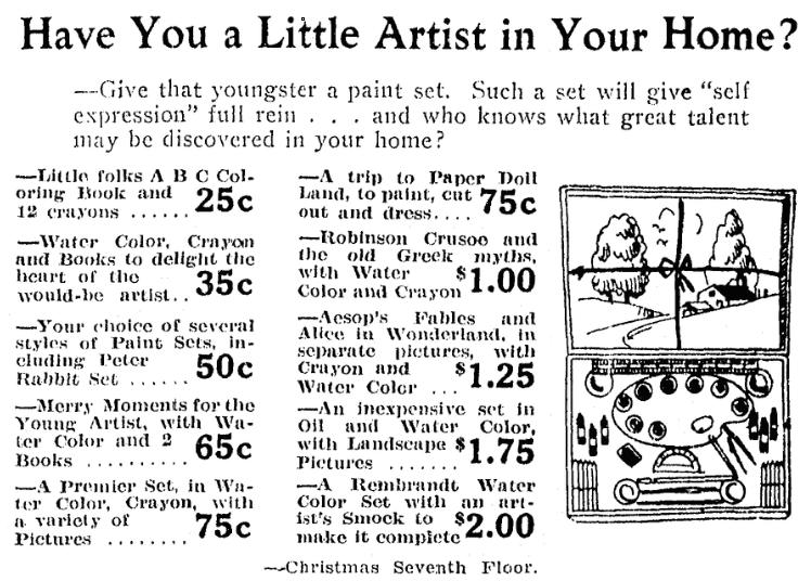 An ad for art supplies, Grand Rapids Press newspaper advertisement 15 December 1927