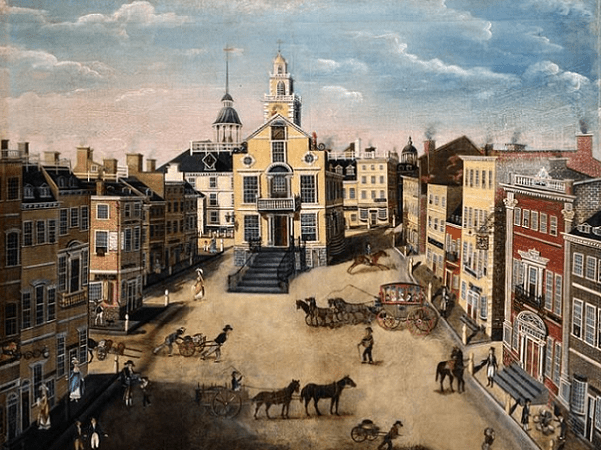 Illustration: a depiction of the Old State House, c. 1801. The Brazen Head was located nearby in the adjacent square. Credit: James Brown Marston; Wikimedia Commons.