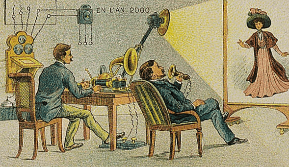 Illustration: video telephony predicted to be in use by the year 2000, as envisioned in 1910 (artist's conception)