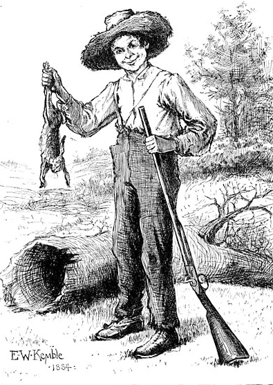 Illustration: Huckleberry Finn, as depicted by E. W. Kemble in the original 1884 edition of the book