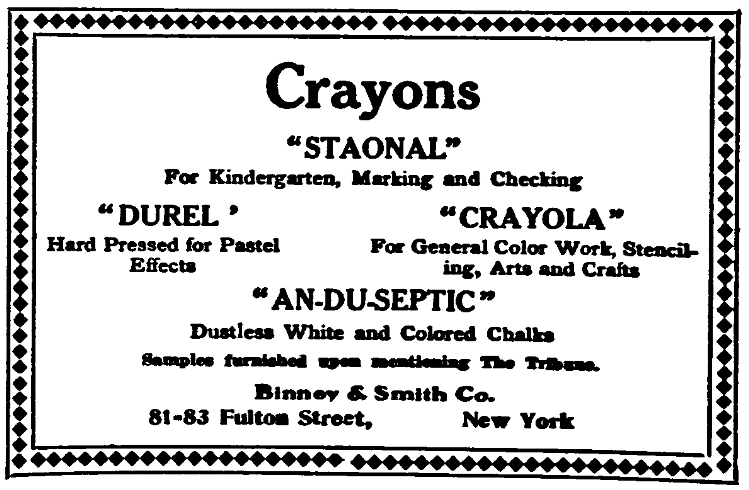 An ad for crayons, New-York Daily Tribune newspaper article 24 September 1910