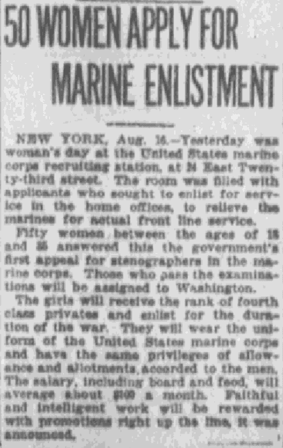 An article about women joining the U.S. Marine Corps, Pawtucket Times newspaper article 16 August 1918