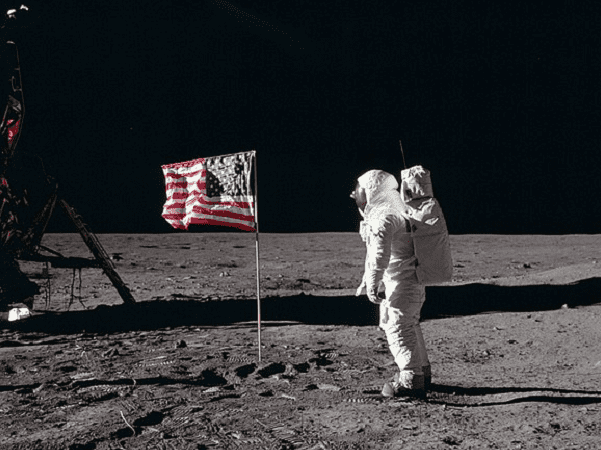 Photo: Buzz Aldrin salutes the U.S. flag on the Moon, taken by Neil Armstrong, 20 July 1969. Credit: NASA/Neil A. Armstrong; Wikimedia Commons.