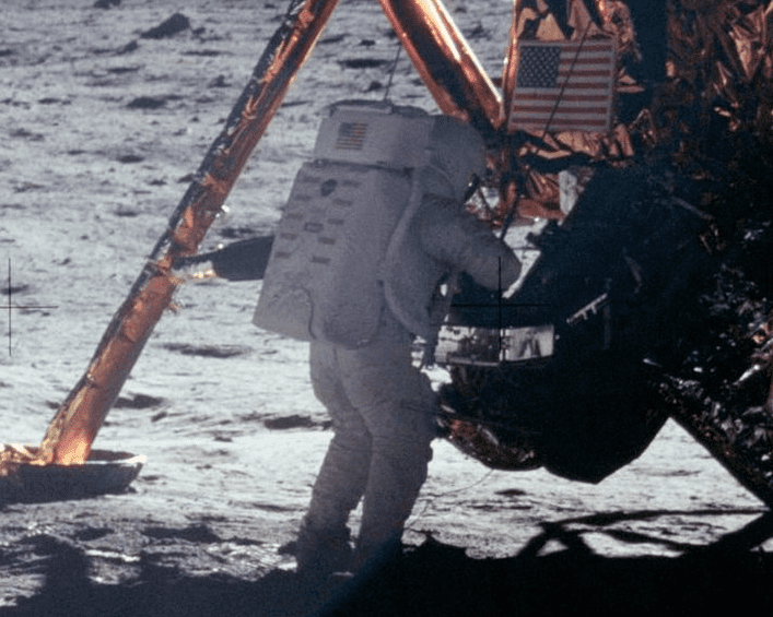 Photo: Neil Armstrong on the Moon, taken by Buzz Aldrin, 20 July 1969