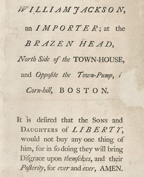 Photo: handbill urging a boycott of William Jackson's store, 1769-1770