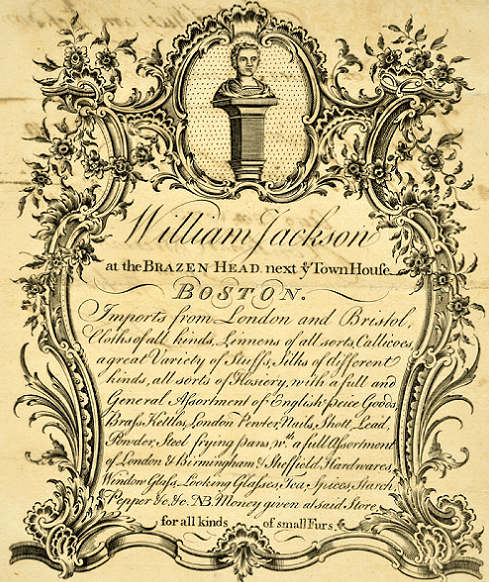 Photo: William Jackson's trade card, engraved by Paul Revere in 1769
