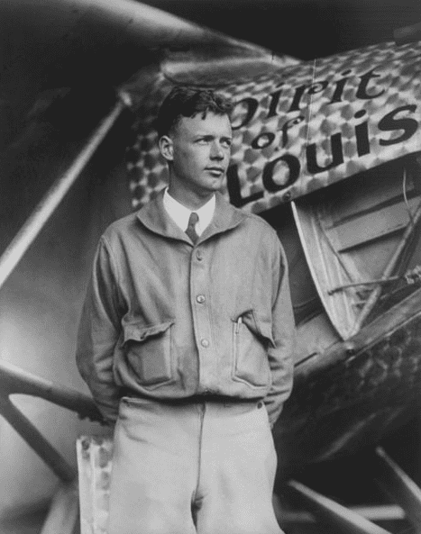"""Photo: Charles Lindbergh with his plane """"Spirit of St. Louis,"""" 31 May 1927"""